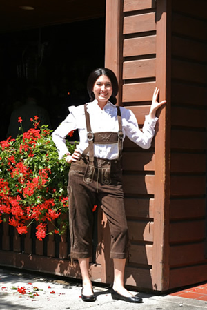 Leather lederhosen with blouse
