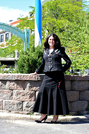 Black trachen jacket with skirt and blouse